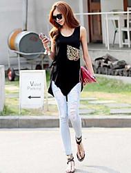 Women's Solid Black Vest Sleeveless Pocket/Embroidery