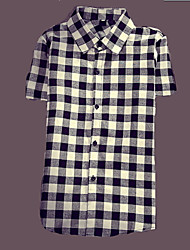 Men's Short Sleeve Shirt  Cotton WorkFormal Plaids & Checks