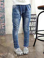 Girl's Casual Calves with Zipper Patch Denim Pants