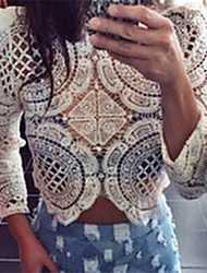 Women's Shirt Collar Blouse , Lace ¾ Sleeve