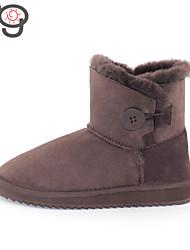 MO Fashion Women's Short Snow Boots Winter Boots Lady Twinface Sheepskin Shoes