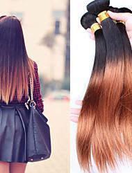 3pcs / lot brésilien cheveux humaines vierge droite 2 tone ombré 1b / 30 couleur les Erweiterungen des cheveux noirs droites