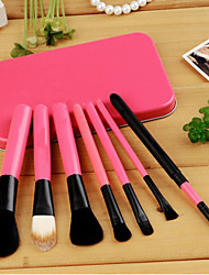 Kabuki Makeup Brush Set Cosmetics Foundation Blending Blush Eyeliner Face Powder Brush Makeup Brush Kit (7pcs, Pink)