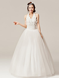 A-line Floor-length Wedding Dress - Halter Organza