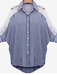 Damen Hemd  -  Spitze Spitze/Baumwolle ¾-Arm Hemdkragen
