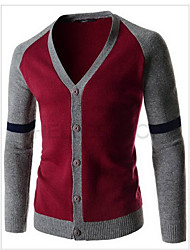 Cardigan De los hombres Medio Casual Un Color - Punto - Manga Larga