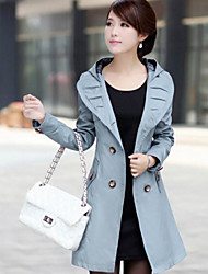 Women's Vintage Trench Coat,Solid Shirt Collar Long Sleeve Fall Blue / White / Black Thick