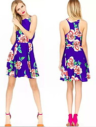 Women's Round Dresses , Cotton Blend Print/Cute/Party Sleeveless summer