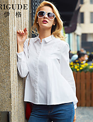 Veri Gude Women's White Blouse Hidden Button Pleated Front Loose Cotton Shirt