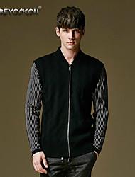 Men's casual sweater,Stripe mosaic cardigan sweater,Autumn Korean cultivating thin sweater 011