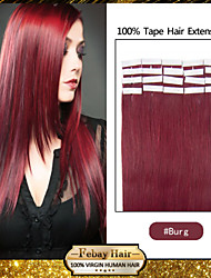 24inch Indian Tape in Human Hair Extension Silky Straight 20Pcs 50G burg
