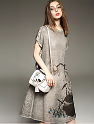 2015 New Print Dress Summer Ladies Short-sleeved Dress Stitching A-line Skirt Women Fashion Dress