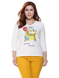 Prettyshow 2015 autumn new style women big size XL-5XL V-neck printing full sleeve slimming clothes QA3TT0821