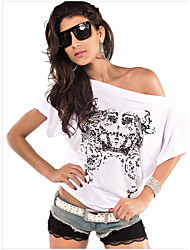 PRG Women's One Shoulder/Round T-Shirts , Cotton/Polyester Sexy/Casual Short Sleeve