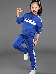 Girl's Letter Print Casual Sports Clothing Sets(Coat&Pants)