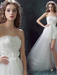 Sheath/Column Wedding Dress-White Asymmetrical Sweetheart Lace