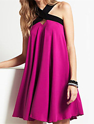 Women's Fuchsia Chic Flared Drape Mini Sexy Dress