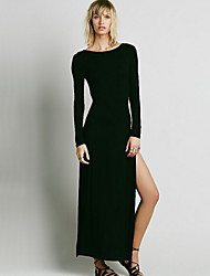 Women's Sexy Backless Split Dress , Maxi Long Sleeve