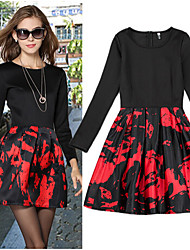 Women's Print Black Dresses , Casual Round Long Sleeve