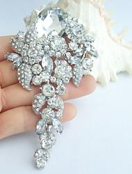 Wedding 4.13 Inch Silver-tone Clear Rhinestone Crystal Bridal Brooch Wedding Deco Bridal Bouquet Wedding Flower Brooch
