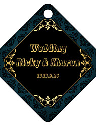 Personalized Rhombus Wedding Favor Tags - Black Design (Set of 36)