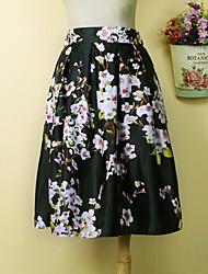 Women's European Style Fashion Polyester Printed Skirt