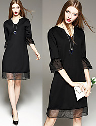 Women's V-Neck Dresses , Others Sexy/Beach/Casual/Cute/Party ¾ Sleeve Cathy
