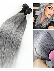 3Pcs/Lot New Arrival Brazilian Virgin Straight Human Hair Extensions 1B/Grey Two Tone Ombre Silver Grey Hair Weave