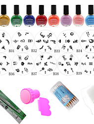 Manicure Template Styling Tools(10PCS Nail Plates + 10 Colors Stamping Special Polish +Stamper + Scraper)