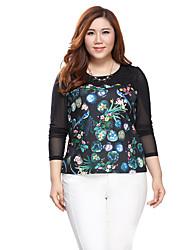 Prettyshow 2015 autumn new style lady big size XL-5XL sexy O-neck slimming printing blouse clothes QA3RT0337