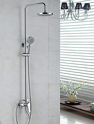Contemporary Shower System Rain Shower / Handshower Included with  Ceramic Valve Single Handle Two Holes for  Chrome , Shower Faucet
