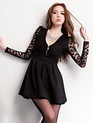 Women's Deep V Lace Dress , Lace/Cotton Above Knee Long Sleeve