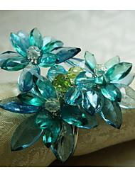 Acrylic Beaded Flower Decoration Napkin Ring, Acrylic, 1.77Inch, Set of 12