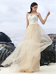 LAN TING BRIDE A-line Wedding Dress Wedding Dress in Color Sweep / Brush Train Sweetheart Lace Tulle with Lace