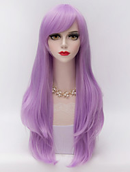 70cm Long Layered Curly Hair With Side Bang Light Purple Heat-resistant Synthetic Harajuku Lolita Women Wig