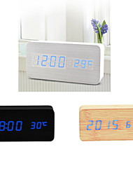 Blue Light USB Dual-Screen Rectangular Wooden LED Clock