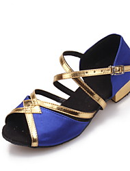 SUN LISA Latin Salsa Women and Kids' Sandals Chunky Heel Satin Buckle Dance Shoes (More Colors)