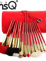 MSQ® 12pcs Makeup Brushes set Goat/Wool hair Red Powder Brush Foundation brush Eye Shadow/Eyeliner/Brow/Lashes Brush Makeup Kit Cosmetic Brushes