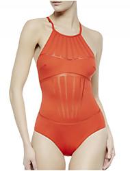 Women's Nylon Spandex Mesh Insert Padded Sexy One Piece Swimsuit
