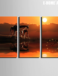 E-HOME® Giraffe Clock in Canvas 3pcs