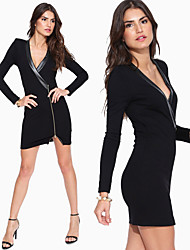 Kanier Women'S Pu Leather Stitching Sexy V-Neck Metal Zipper Tight Package Hip Dress