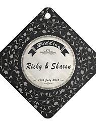 Personalized Rhombus Wedding Favor Tags -Black Design (Set of 36)