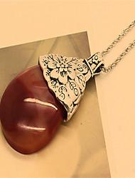 European Retro Opal Necklace Cute/Casual Gemstone & Crystal Pendant Necklace