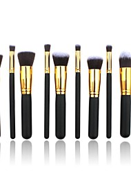 10 Makeup Brushes Set Nylon Professional / Full Coverage