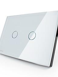 Livolo uns / ua Standard-Touch-Schalter, Kristallglasplatte, 2-fach 2-Wege. weiß / schwarz Farbe, vl-c302s-81 / vl-c302s-82
