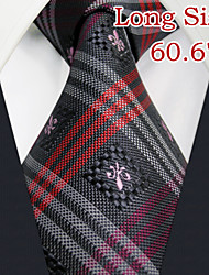 "UL28 Shlax&Wing Necktie Grey Mens Ties Red Plaids Classic Silk 66"" Extra Long Size"