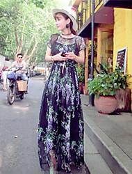 vestido das mulheres, seda / algodão de manga curta maxi
