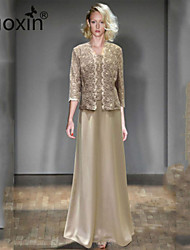 nuoxin® Women's Round Collar Sleeveless Elegant Dress+Lace Hollow Out Sequins Fashion Coat Suits