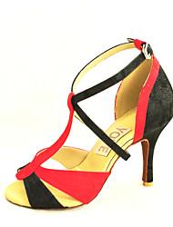 Customizable Women's Dance Shoes Suede / Leatherette Suede / Leatherette Latin / Salsa Sandals Customized HeelPractice / Beginner /