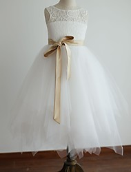 Princess Tea-length Flower Girl Dress - Lace / Satin / Tulle Sleeveless Scoop with